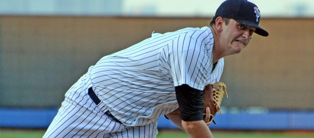 David Palladino pitching for the Staten Island Yankees (Robert M PImpsner)