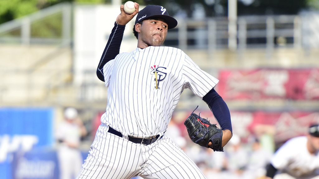 Jose Mesa Jr. with the Staten Island Yankees during the 2015 season (Robert M. Pimpsner)