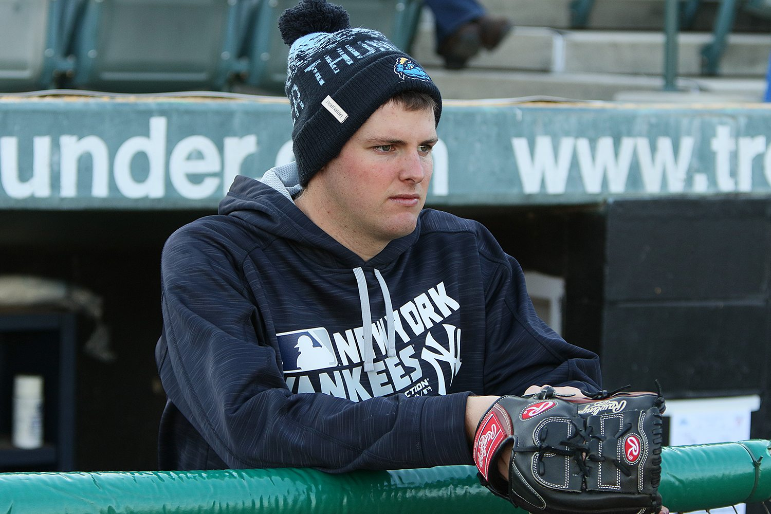 Last night's starting pitcher Jordan Montgomery in the Trenton Thunder dugout before a game against the Portland Sea Dogs at ARM & HAMMER Park in Trenton on Wednesday, April 13, 2016. Photo by Martin Griff