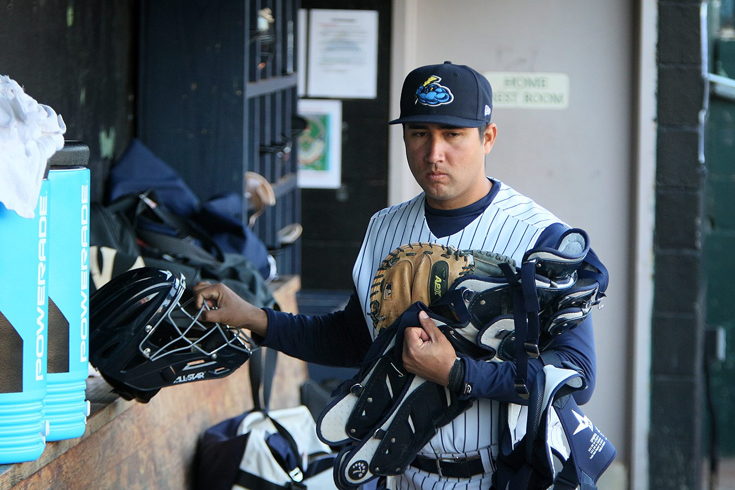 Trenton Thunder catcher Francisco Diaz in the dugout before a game against the Portland Sea Dogs at ARM & HAMMER Park in Trenton on Wednesday, April 13, 2016. Photo by Martin Griff