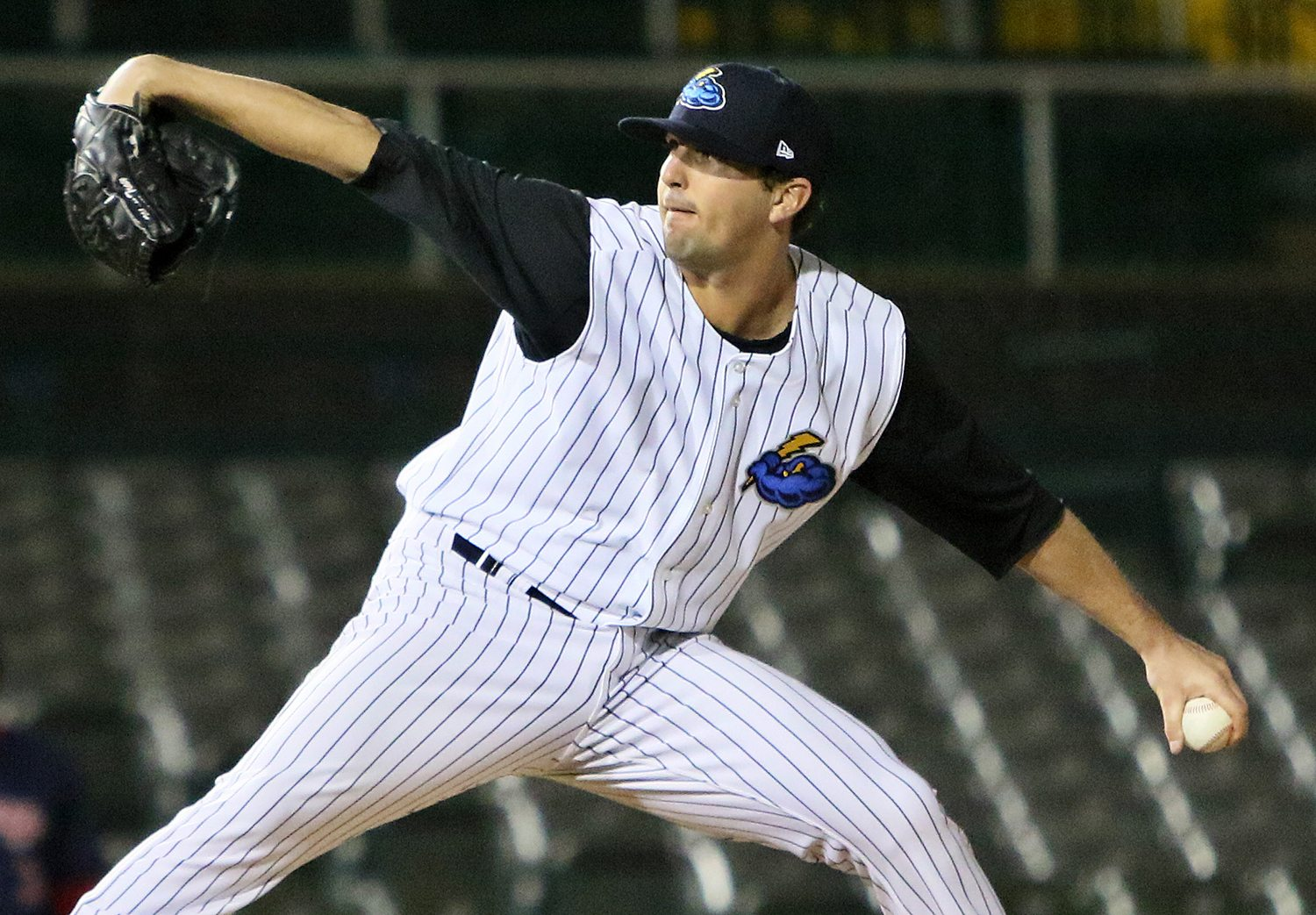 Trenton Thunder southpaw Matt Tracy fires the last pitch of the game against the Portland Sea Dogs at ARM & HAMMER Park in Trenton on Wednesday, April 13, 2016. Tracy got the win as the Thunder defeated the Sea Dogs 1-0.  Photo by Martin Griff