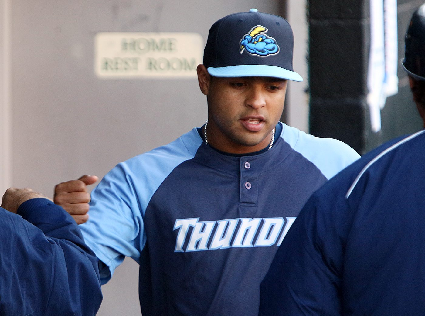 Trenton Thunder outfielder Juan Silva in the dugout before a game against the Portland Sea Dogs at Arm & Hammer Park in Trenton on Tuesday, April 12, 2016. The 25 year old was selected by the Cincinnati Reds in the eighth round of the 2009 First-Year Player Draft out of Puerto Rico Baseball Academy and High School in Gurabo, Puerto Rico, elected free agency in November 2015 and signed to a New York Yankees minor league contract in December 2015. . Photo by Martin Griff