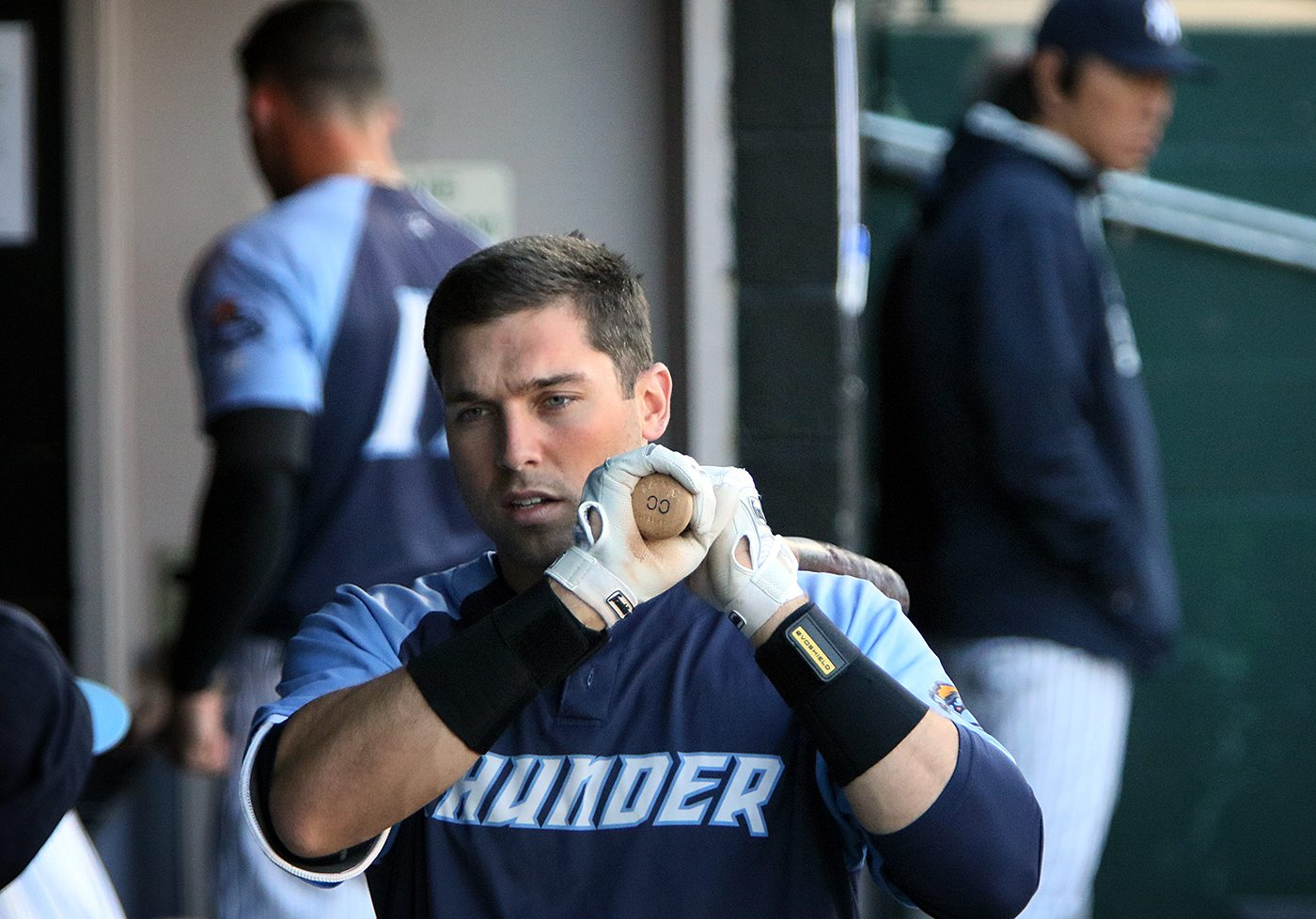 Trenton Thunder outfielder Jake Cave in the dugout during a game against the Portland Sea Dogs at Arm & Hammer Park in Trenton on Tuesday, April 12, 2016. Photo by Martin Griff