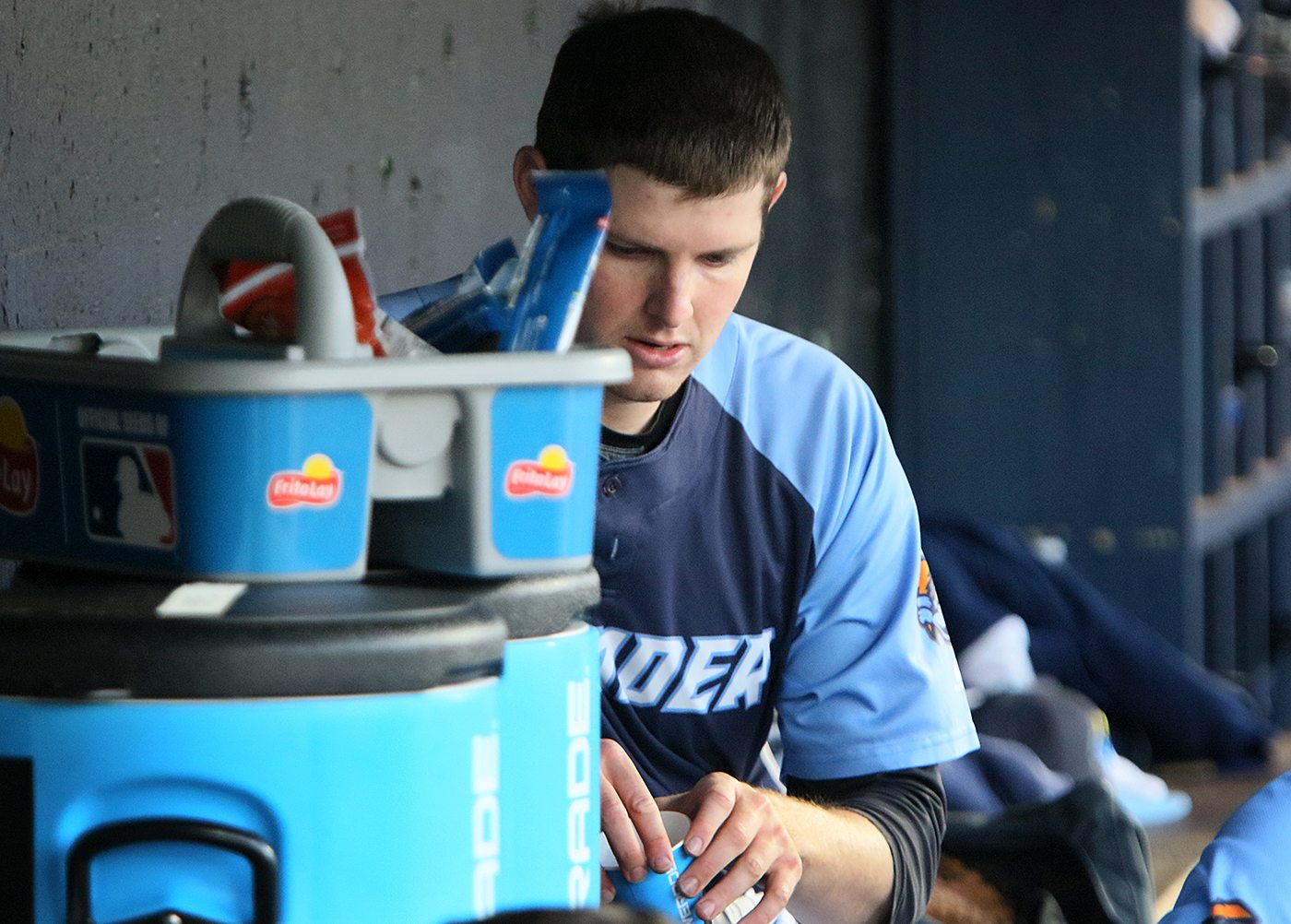 Trenton Thunder southpaw Jordan Montgomery in the dugout between innings during his Double A debut against the Portland Sea Dogs at Arm & Hammer Park in Trenton on Tuesday, April 12, 2016. Photo by Martin Griff.