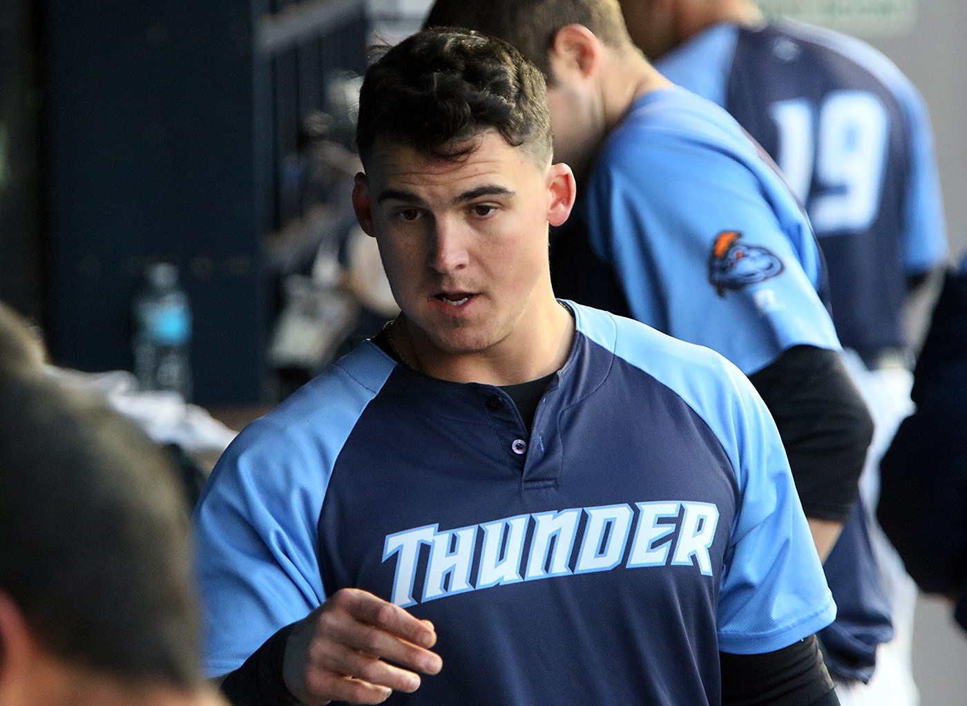 Trenton Thunder infielder Tyler Austin in the dugout during a game against the Portland Sea Dogs at Arm & Hammer Park in Trenton on Tuesday, April 12, 2016. Photo by Martin Griff