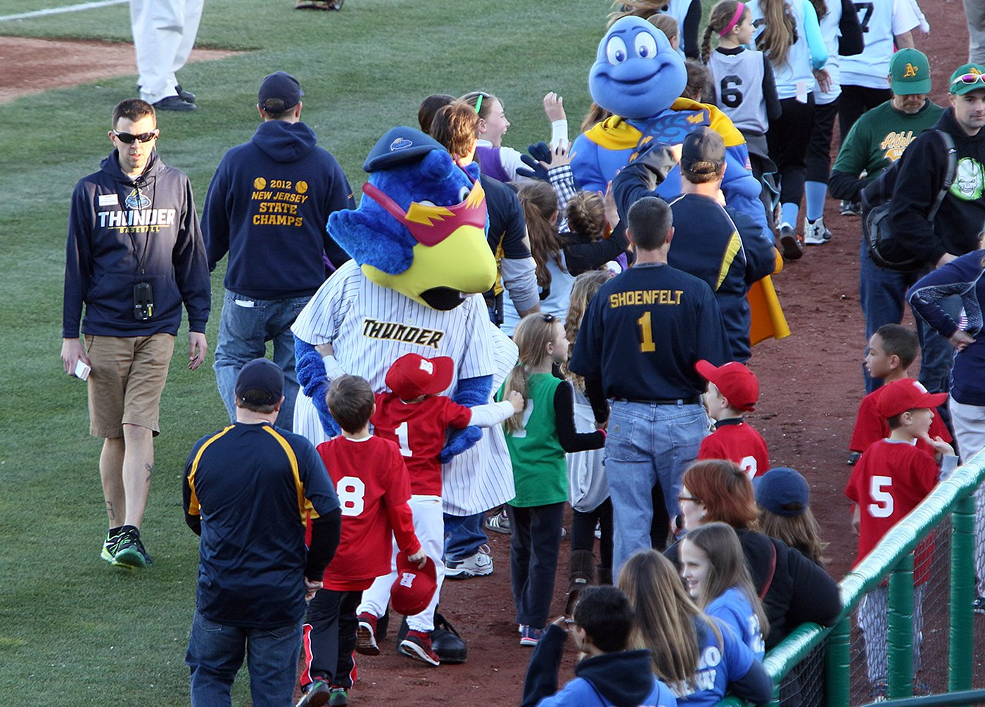 Trenton Thunder Mascots Boomer and Cloudman greet young fans before a game between the Trenton and Portland Sea Dogs at Arm & Hammer Park in Trenton on Tuesday, April 12, 2016. Photo by Martin Griff