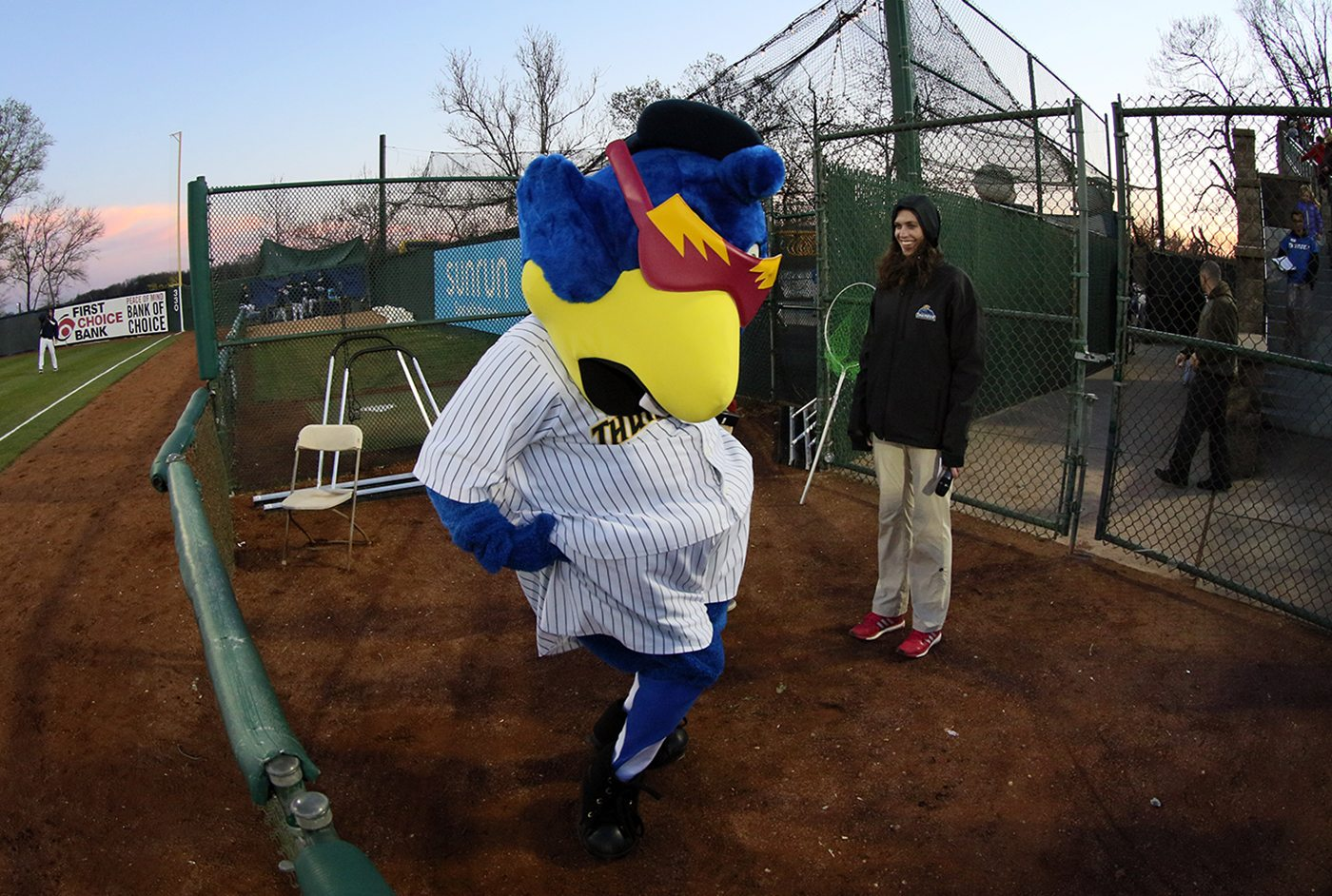Trenton Thunder mascot Boomer strikes a pose for the camera between innings of a game between the Trenton and Portland Sea Dogs at Arm & Hammer Park in Trenton on Tuesday, April 12, 2016. Photo by Martin Griff