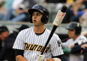 Outfielder Dustin Fowler leads Minor League Baseball with 14 triples. (Photo by Martin Griff)