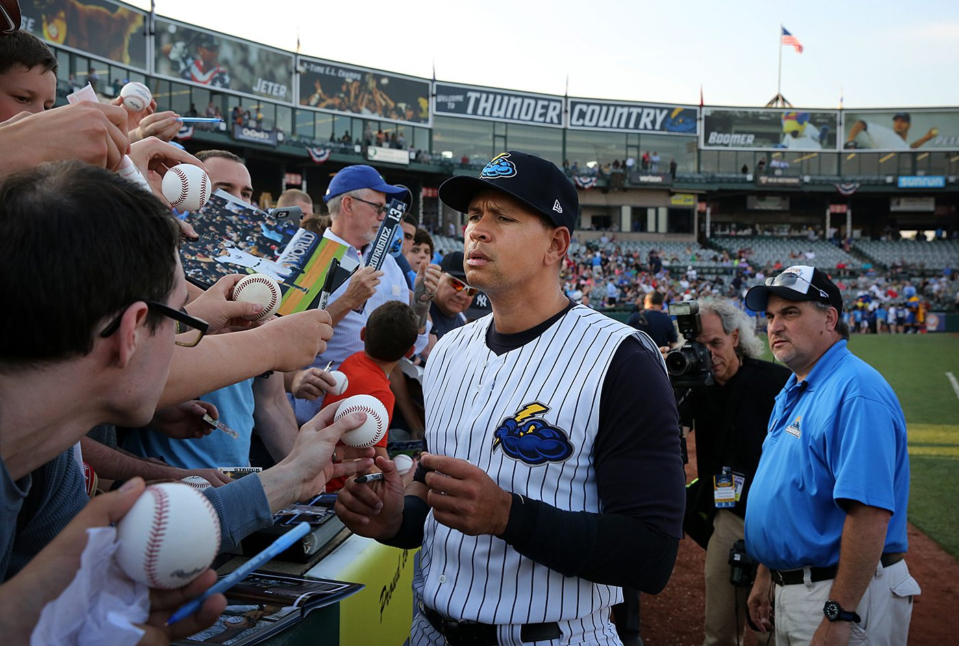 New York Yankees slugger Alex Rodriguez signs autographs for fans at ARM & HAMMER Park in Trenton on Wednesday, May 25, 2016 before a game against the New Hampshire Fisher Cats. Rodriguez joined the Double A Yankee farm team for a second day as part of a rehab assignment. Photo by Martin Griff