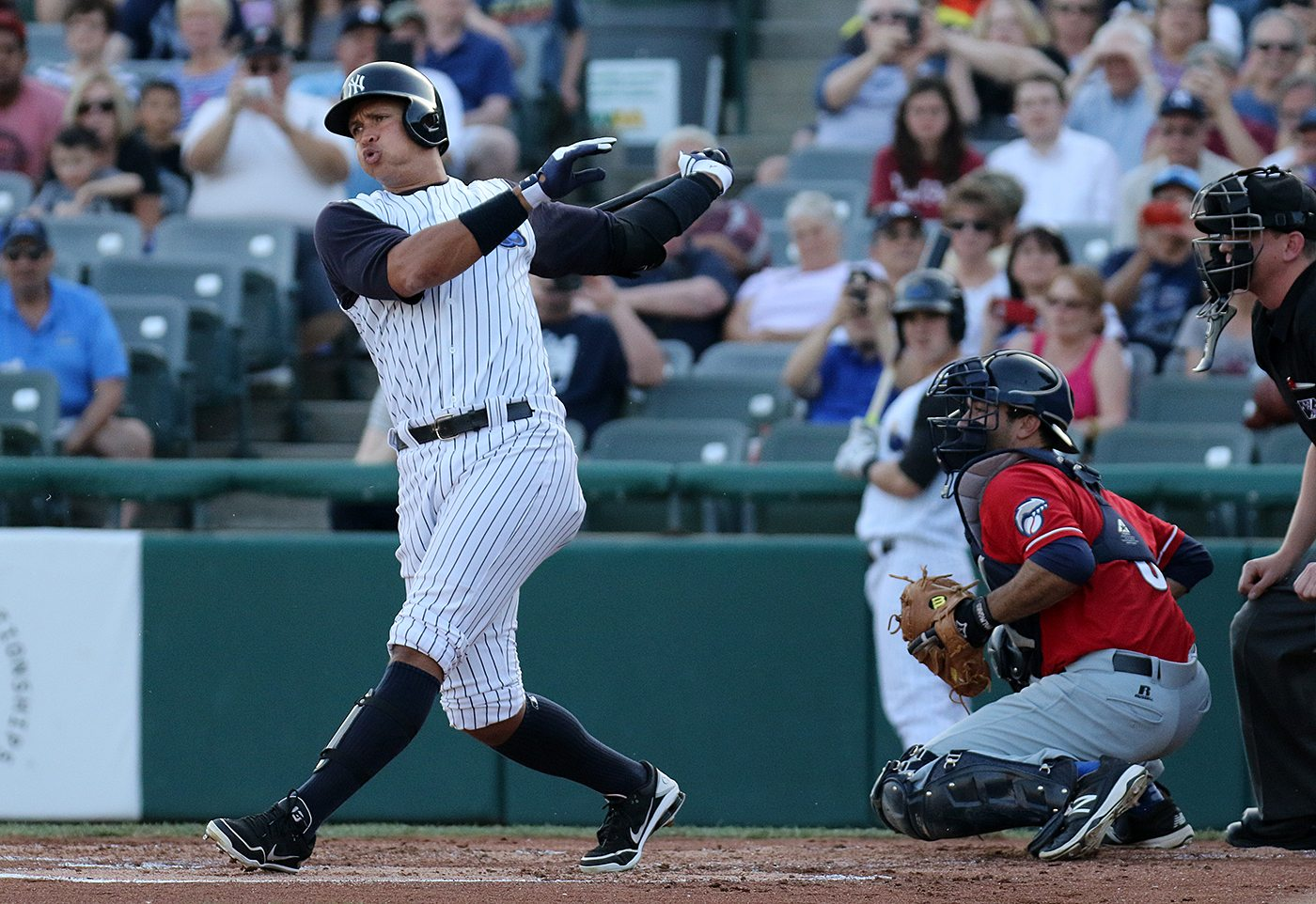 New York Yankees slugger Alex Rodriguez bats in the first inning at ARM & HAMMER Park in Trenton on Wednesday, May 25, 2016 during the first inning of a game against the New Hampshire Fisher Cats. Rodriguez joined the Double A Yankee farm team for a second day as part of a rehab assignment. Photo by Martin Griff