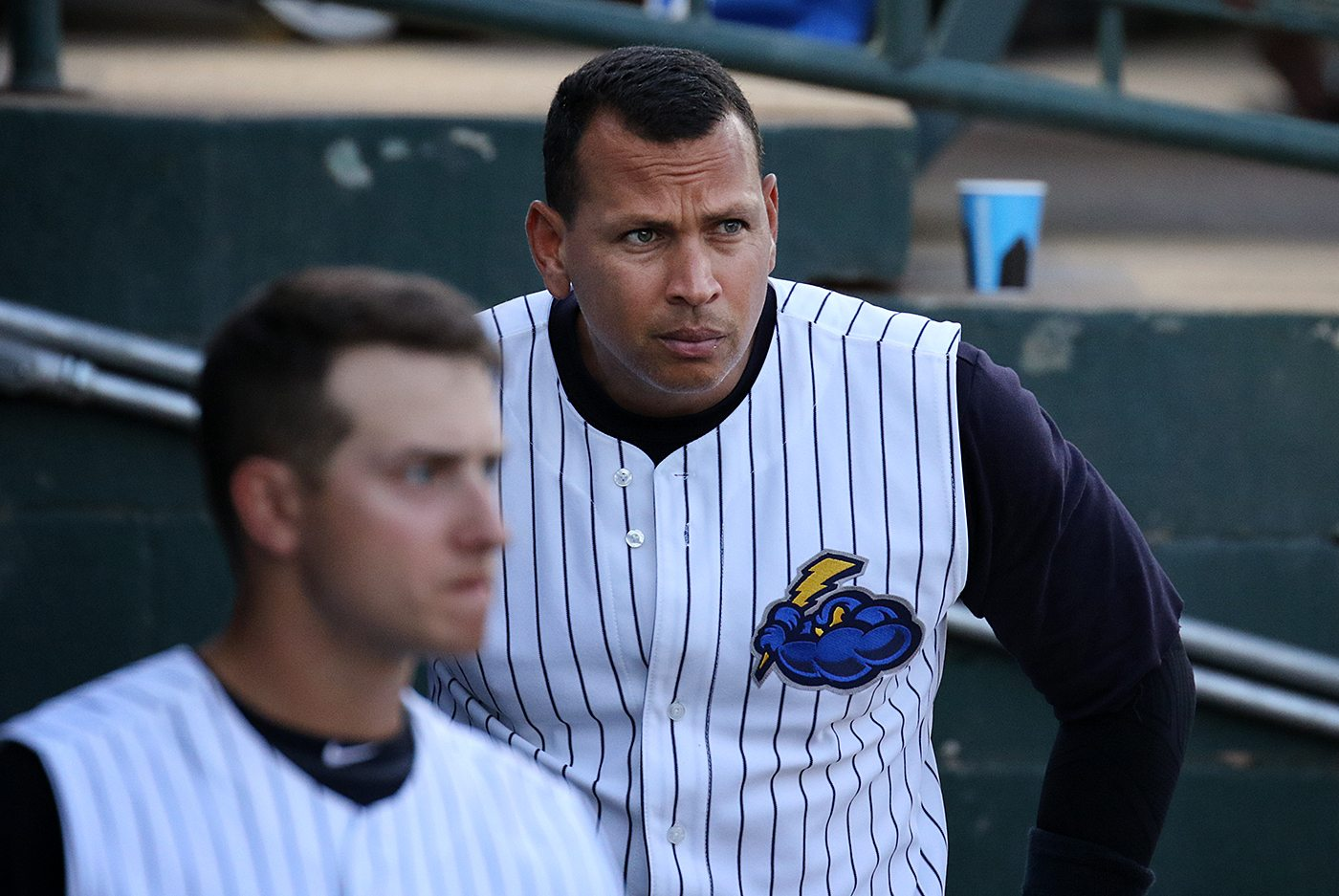 New York Yankees slugger Alex Rodriguez in the dugout at ARM & HAMMER Park in Trenton on Wednesday, May 25, 2016 during the second inning of a game against the New Hampshire Fisher Cats. Rodriguez joined the Double A Yankee farm team for a second day as part of a rehab assignment. Photo by Martin Griff