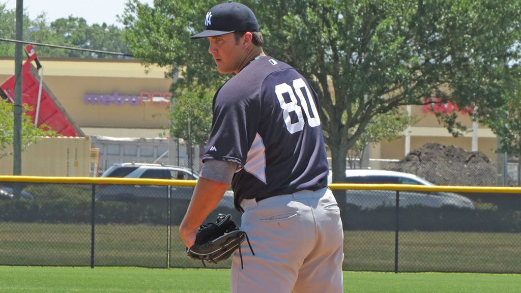 New York Yankees minor league prospect Sean Carley on the mound in an extended spring training game at the Yankees Himes Complex (Bryan Green)