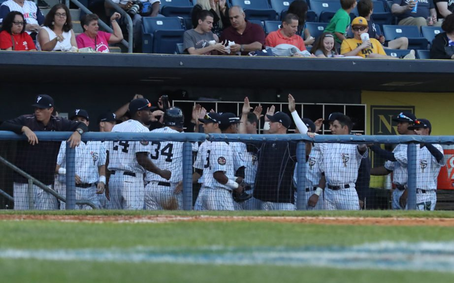 The Staten Island Yankees celebrate tying the game in the fourth inning. (Robert M. Pimpsner/RMP Sports Media, Inc.)