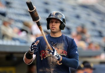Outfielder Jake Cave just missed a cycle in the Railriders' Game 1 loss Tuesday. (Photo by Martin Griff)