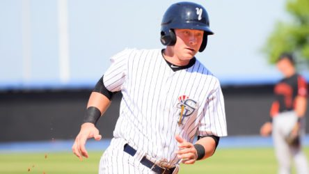 Dalton Blaser rounds third, on his way to score a run for the Staten Island Yankees in 2016. (Robert M. Pimpsner)