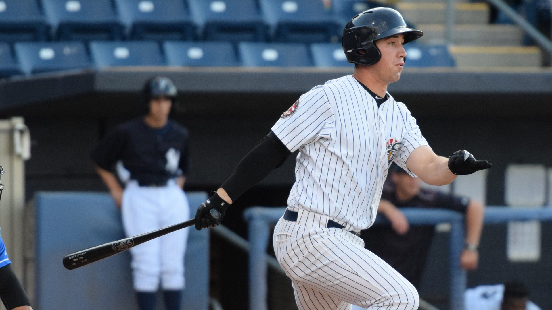 Staten Island Yankees first baseman Drew Bridges had 2-doubles in a 3-for-4 night at the plate against the Hudson Valley Renegades on June 29, 2016. (Robert M. Pimpsner/RMP Sports Media, Inc.)
