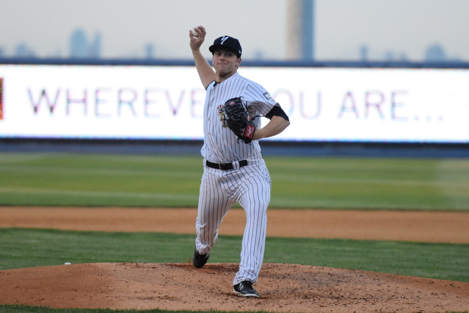 Staten Island Yankees starting pitcher Drew Finley fireing a pitch to the plate in the June 18, 2016 game against the Brooklyn Cyclones. (Robert M. Pimpsner/RMP Sports Media, Inc.)