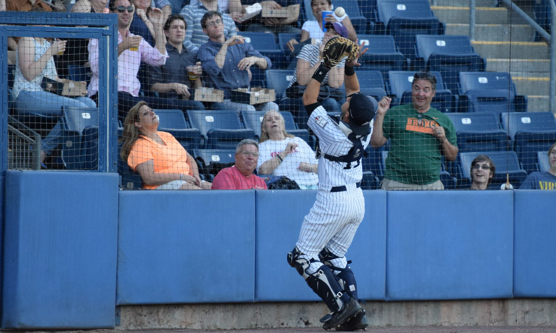 Staten Island Yankees catcher Luis Torrens catches a pop up behind the plate, just in front of the netting. (Robert M. Pimpsner)