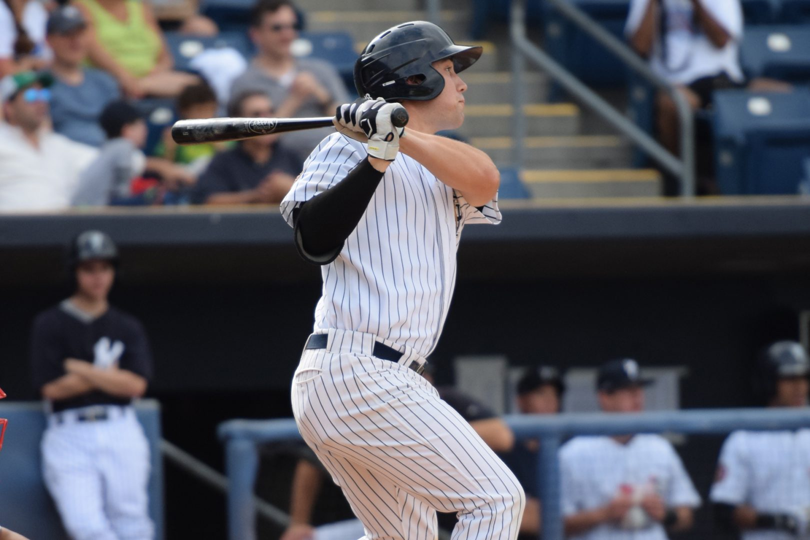 Drew Bridges singled to start off the fourth inning for the Staten Island Yankees (Robert M. Pimpsner)