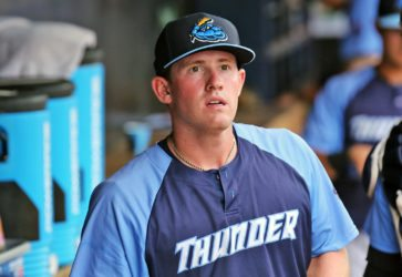 Billy McKinney has swing the hottest bat during the Thunder's playoff run. (Photo by Martin Griff)