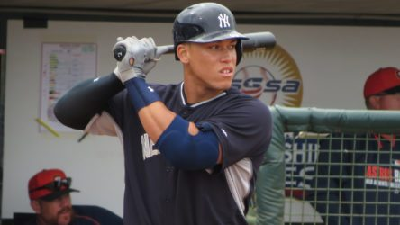 Aaron Judge in Spring Training with the Yankees in 2015 (Bryan Green)