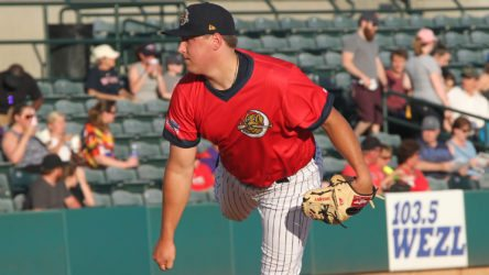 Erik Swanson in his Yankees debut with the Charleston RiverDogs (Charleston RiverDogs)