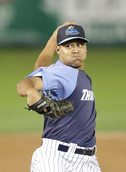 Justus Sheffield delivers a pitch against Akron in game 3 of the ELCS on Friday night at ARM & HAMMER Park. Photo by John Blaine