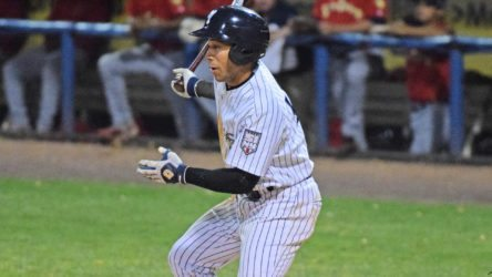 Dom Thompson Williams collected 2 hits in his first professional playoff game. (Robert M. Pimpsner)