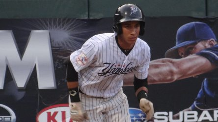 Oswaldo Cabrera with the Pulaski Yankeaes in 2016 (Jarah Wright)